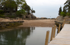 Beach and Dock at Thimble Island House